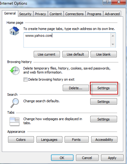 History and temporary internet file settings in Internet Explorer 9