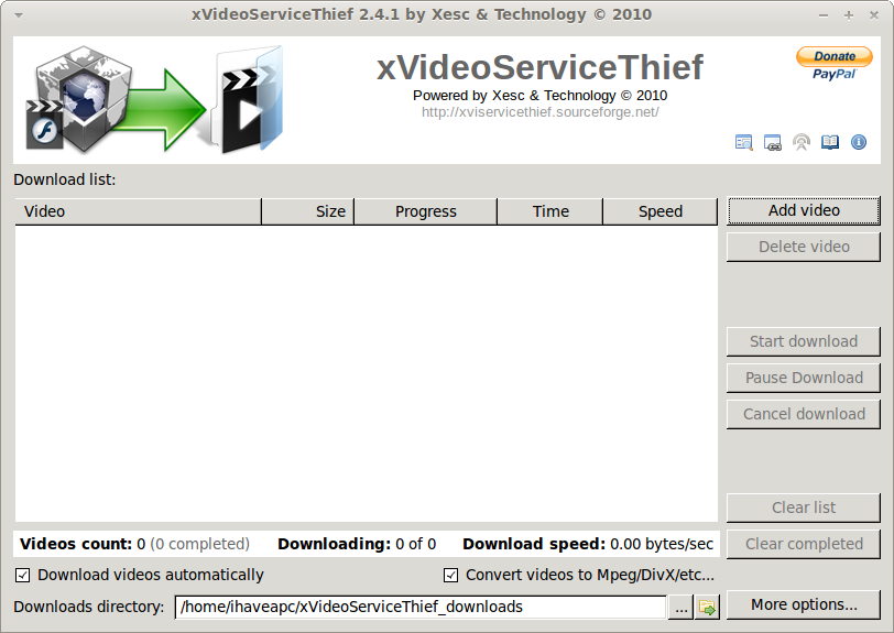 xVideoServiceThief running in Linux Mint 11 / Ubuntu 11.04