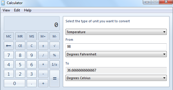 Converting units in Windows calculator