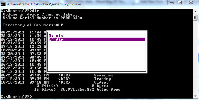 See and reuse previously entered commands at the Windows command prompt