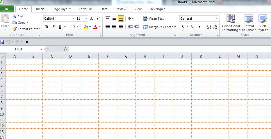 Custom gridline color in Excel 2010