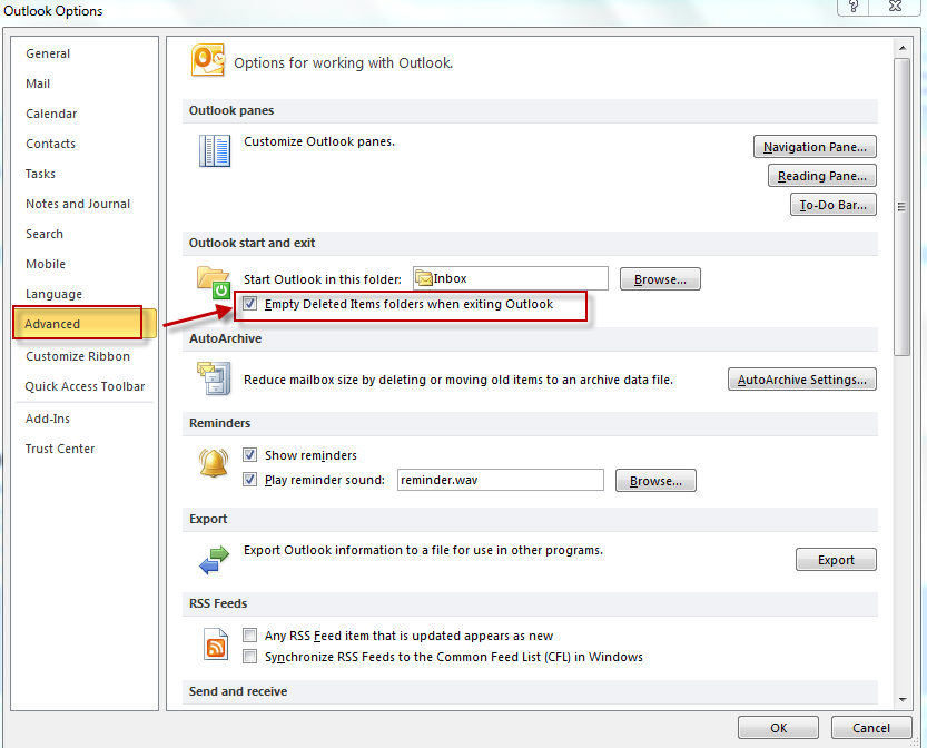 Enable delete on exit for deleted items folder in Outlook 2010