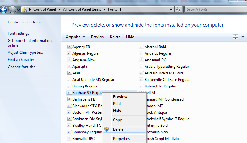 Deleting fonts in Windows 7