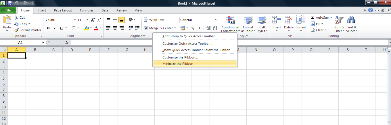 Full ribbon in Excel 2010