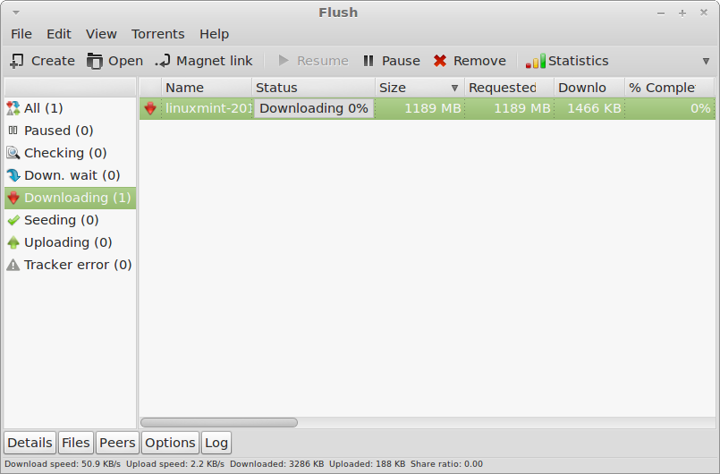 Flush: A GTK Based Bittorrent Client For Linux Mint / Ubuntu
