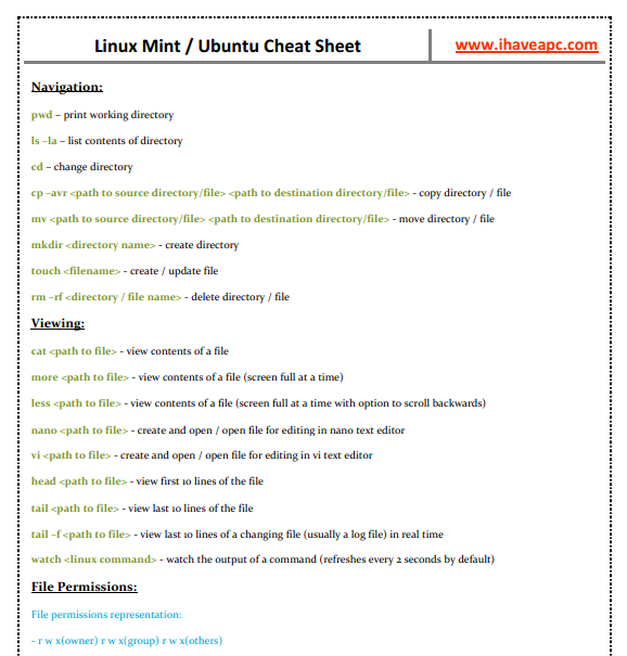 ihaveapc.com Linux Mint/Ubuntu cheat sheet