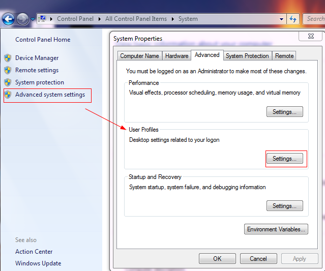Accessing advanced system settings in Windows 7