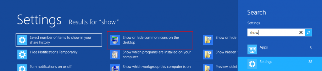 Show or hide common desktop icons in Windows 8