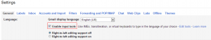 Enabling input tools in Gmail