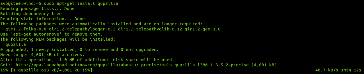 Installing the QupZilla package in Linux Mint/Ubuntu