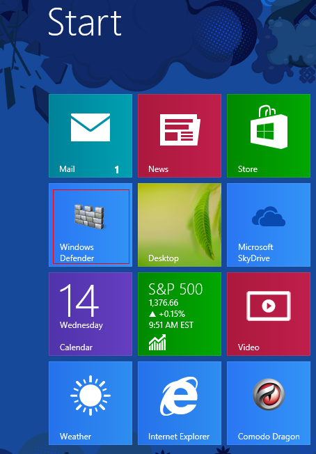 Pinned app in Windows 8 start screen