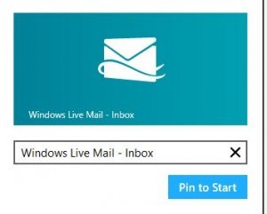 Pinning email account to Windows 8 start screen