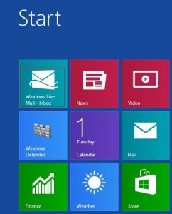 Pinned Windows 8 Mail account