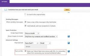 Turn on SSL in Yahoo mail