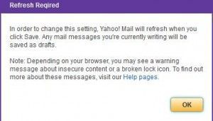 Saving SSL changes in Yahoo mail