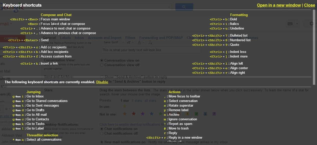 List of available Gmail keyboard shortcuts
