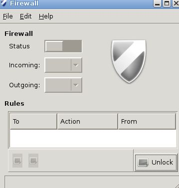 Unlocking gufw for changing settings