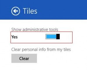 Enable display of administrative tools