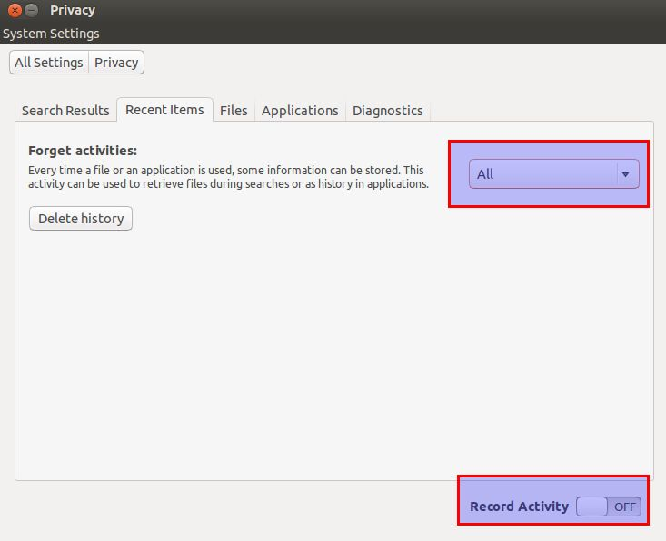 Turn off history for Ubuntu dashboard items