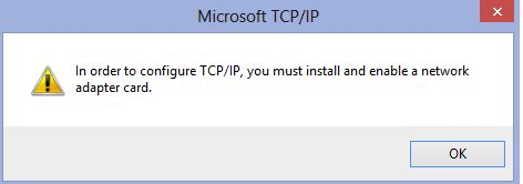 TCP/IP error for network card in Windows 8