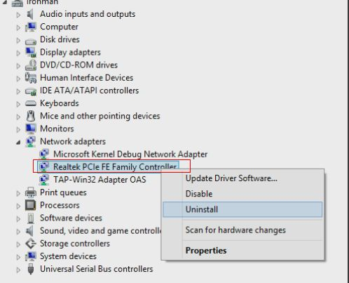 Uninstall existing network adapter