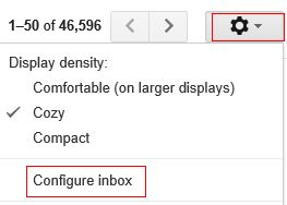 Configure Gmail inbox view