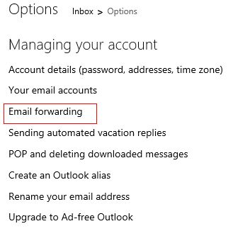 Email forwarding setting in outlook.com