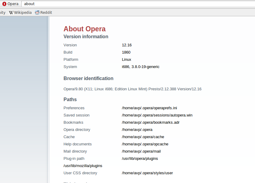 Finding version info and other details about Opera in Linux