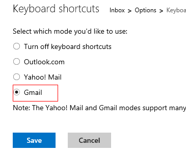 Gmail style keyboard shortcuts in Outlook.com