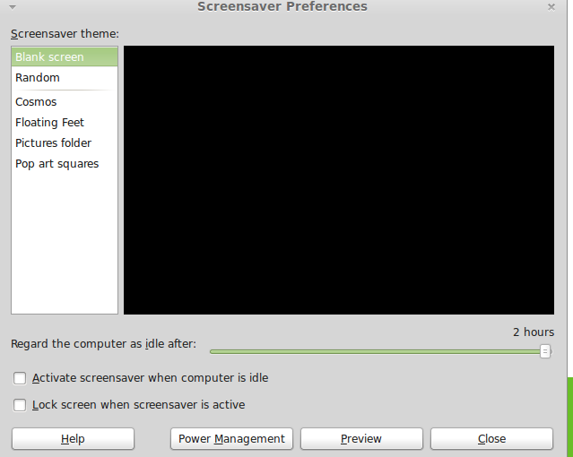Changing screensaver settings in Linux Mint 15