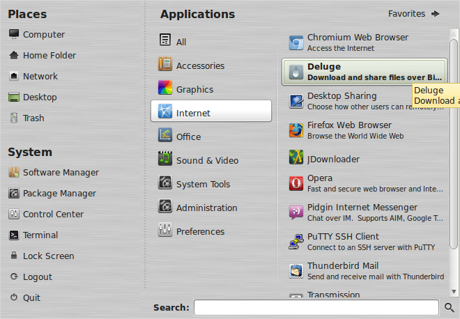 Deluge from Linux Mint menu
