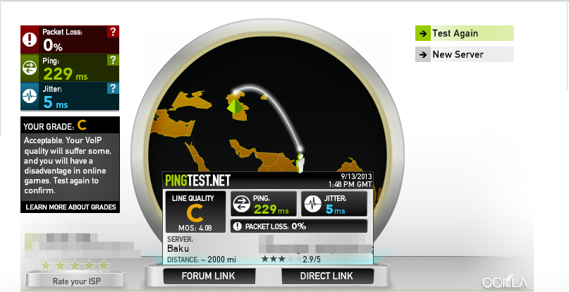 Results of internet quality test from pingtest.net