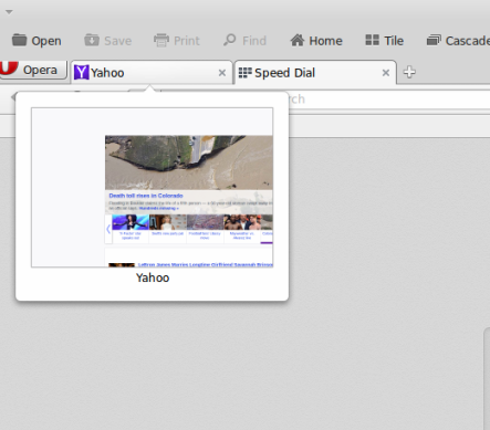 Tab preview in Opera browser