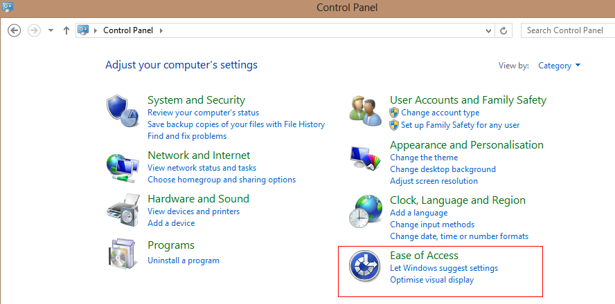 Ease of access from Windows 8 control panel