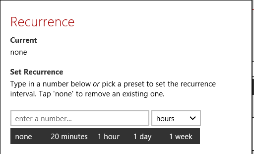 Setting recurrence for reminders in RemindMe