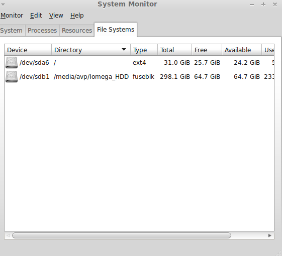 List of mounted file systems in System Monitor