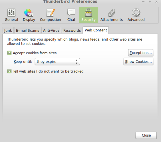Turn off tracking in Mozilla Thunderbird