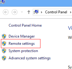 Remote settings in Windows 8