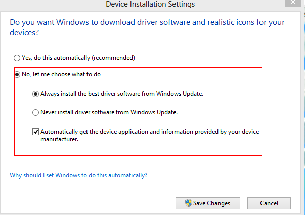 Device driver download settings in Windows 8