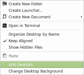 Adding desklets in Linux Mint 15