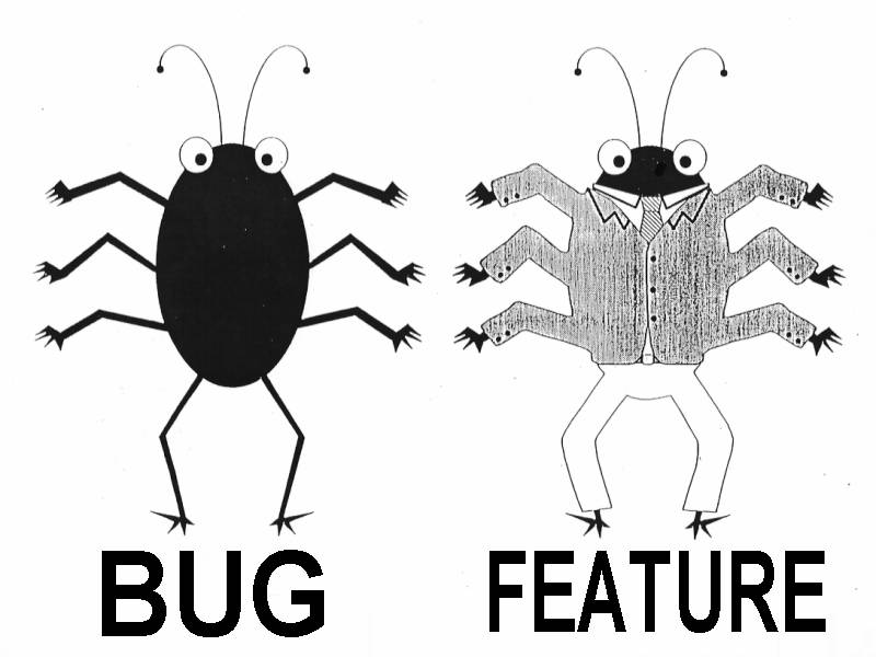Software bug v/s features