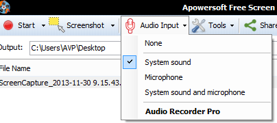 Audio settings for Apowersoft Free Screen Recorder