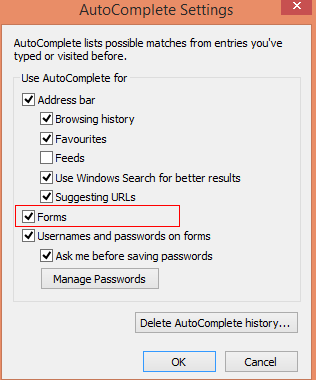 Configure autocomplete for forms in IE 11