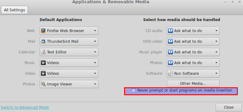 Disabling autoplay in Linux Mint 15