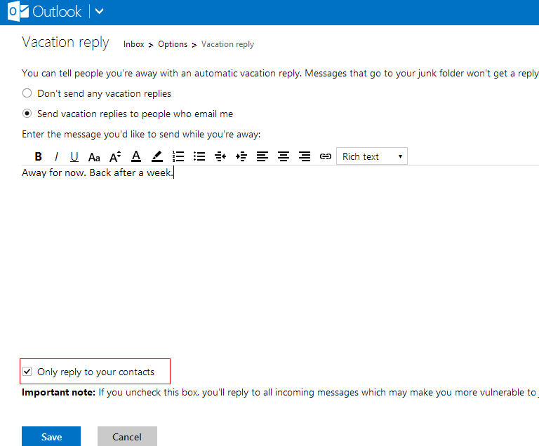 Setting up an automatic vacation reply message in outlook.com