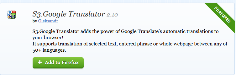 installing s3.google translator in Firefox