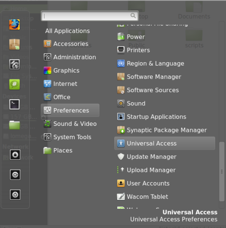 universal access settings in Linux Mint