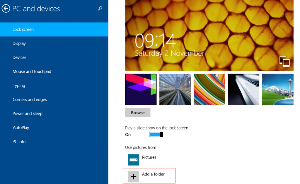 Add a custom folder for slideshow in Windows 8.1