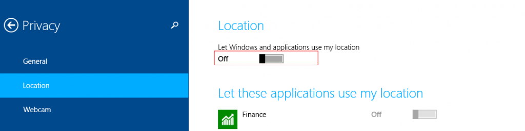 Turn location off in Windows 8.1
