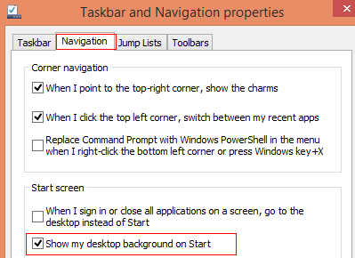 Enable showing desktop background on Windows 8.1 start screen